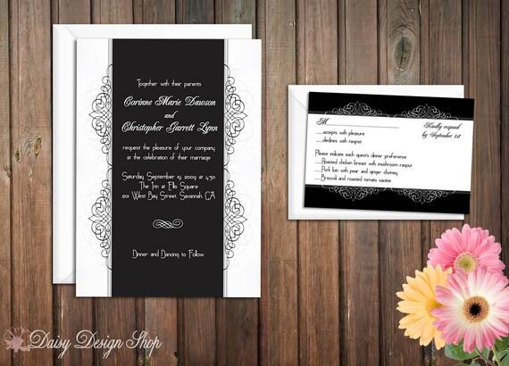 Wedding Invitation - Flourish Swirls in Black and White - Invitation and RSVP Card with Envelopes