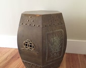 Vintage Brass Garden Stool, Asian Chinoiserie Style