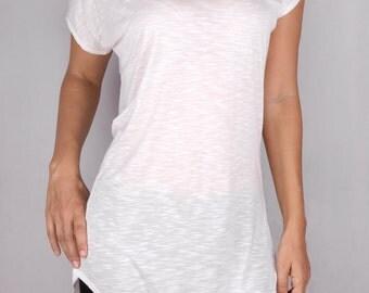 Drop Tunic in Rayon Jersey Slub OFF WHITE - Dance wear, Yoga wear