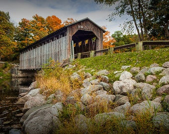 Wooden Covered Bridge by Historic Fallasburg on the Flat River in Fall near Lowell Michigan No.0196 -  an Autumn Landscape Photograph