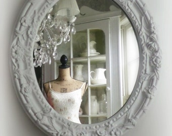 W H I T E Oval Shabby Chic Mirror French Country Nursery Vanity