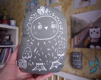 Akkilokipok Owl painted Totem , soft art  creature  toy by  Wassupbrothers, owl stuffed textile doll nursery decor,  softie, unique ooak