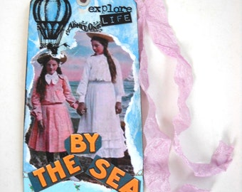 Altered Art Victorian Girls Tag, Seashore Tag, Mixed Media Tag,