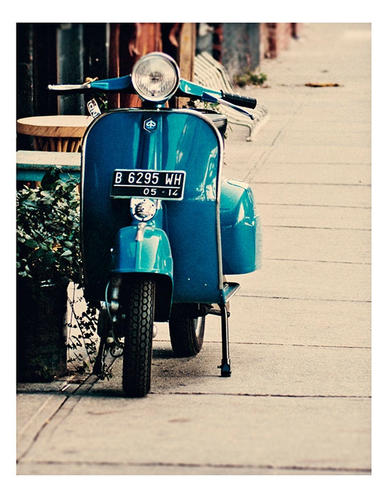 New York Photography- Fine Art Photography- Scooter- Urban- City Street - Print -Blues