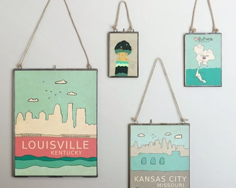 Louisville, Kentucky  // Typography Print, Giclee, Trendy Modern Nursery Decor,  Illustration, Travel Theme, Digital