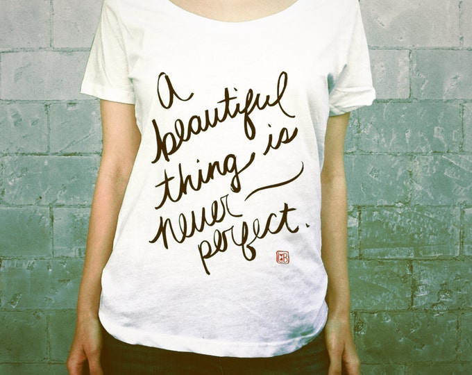 A Beautiful Thing // Ladies Womens Typographic Tee Shirt, Girls T-shirt, Scoop Neck, White, Red, Black, Quotes, Calligraphy, Asian Brush