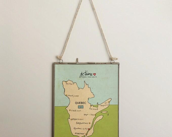 I Love You in Quebec Canada // Typographic Print, Kids Room, Nursery Art, Map, Chart, Illustration, Digital Print, Art Poster