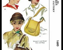 """Fabric Material Sewing Sew Pattern Vintage McCall's 1680 SEXY Hot HATS & Bags 1950's Millinery 23"""" Reproduction / Copy Chemo Alopecia Cancer"""