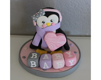 Penguin Custom Cake Topper for Birthday or Baby Shower