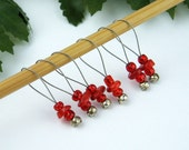 Knitting Stitch Markers, Coral Beads, Medium Size, Snag Free, Knitters Gift, Jeweled Tool, Natural, Knitting Accessory, Handmade, Supplies