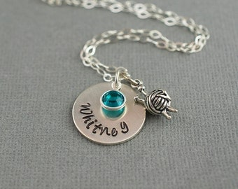 Knitting Needles Birthstone Personalized Hand Stamped Sterling Silver Necklace