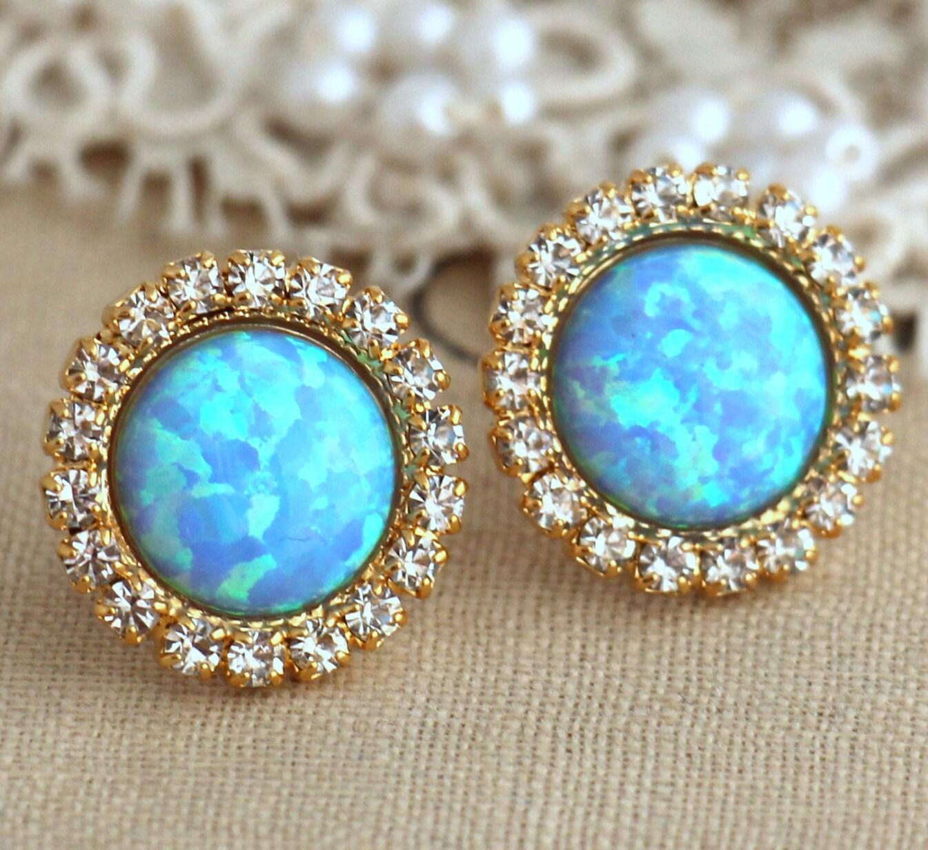 opal earrings opal stud earrings opal studs blue opal. Black Bedroom Furniture Sets. Home Design Ideas