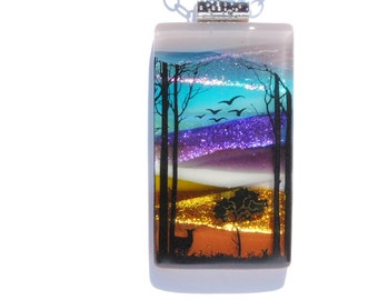 Twilight Forest - LARGE Fused Glass Pendant, Fused Glass Jewelry, Dichroic, Scenic, Woodland, Outdoors, Nature, Trees, Deer (Item 10683-P)