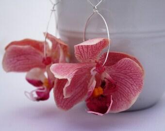 Pink Orchid Flower Earrings Floral Earrings Flower Jewelry Statement Jewelry Tropical Flower Pink Earring Hawaiian Flower Hawaii Jewelry 099
