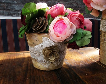 CLEARANCE Birch Vase Accented with Burlap Flower and Lace - Shabby Chic Wedding, Rustic Wedding, Rustic Chic Decoration, Rustic Home Decor
