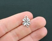 15 Clover Charms Antique Silver Tone Four Leaf Clover Good Luck Charms - SC1596