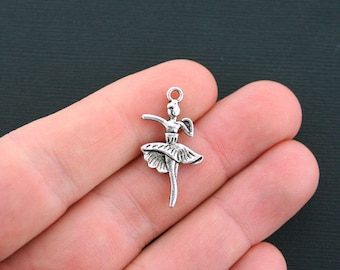 6 Ballerina Charms Antique Silver Tone 2 sided Ballet Dancer Charms- SC7019