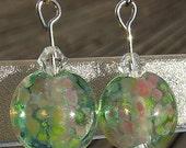 Flower Fairy - lampwork bead earrings