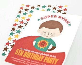 Superhero Birthday Party Invitation, Children's Custom Portrait Invite // SUPER BOY