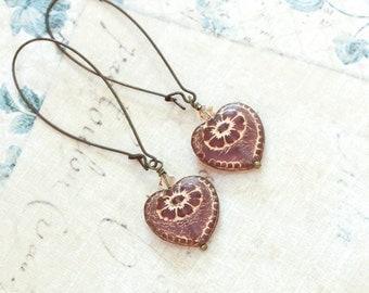 Heart Earrings Long Dangle Earrings Antique Mauve Purple Heart Earrings Vintage Gold Patina Love Romantic Glass Bead Earrings Unique