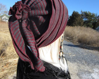 Women's Wool Hat Slouch Beanie Vacationhouse's Rose Back Tie Back Slouchy Hat Charcoal Gray Burgundy Wine Striped Merino Wool A1605