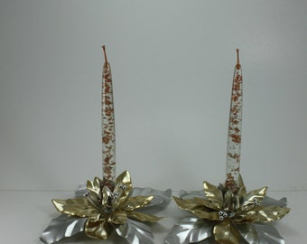Vintage Silver and Gold Metal Poinsettia Candle Holders and Lucite Glitter Tapers Candles Dept 56