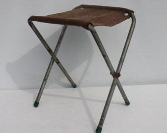 Vintage Metal Fold Up Camping Glamping Army Stool Folding Chair Brown Denim Cover