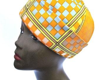 Mod Adolfo II Pillbox Hat 1980s Bright Color Pattern