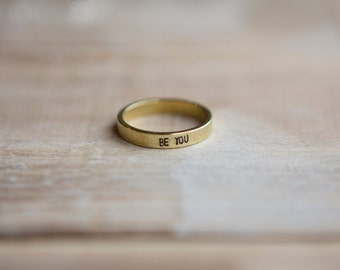 Hand Stamped Gold Tone Ring - Natural Brass Custom Name or Word Ring - Thin Stacking Ring - Personalized - Graduation Gift