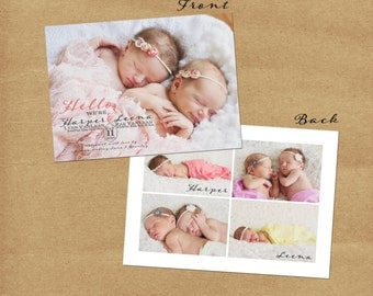 Twin Girls Birth Announcement - Custom 5x7 Card - Printable - Personalized Card - Baby Announcement