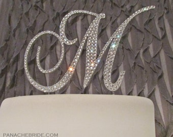 Cake Topper - Beautifully embellished with Swarovski crystals.  A perfect letter wedding cake topper