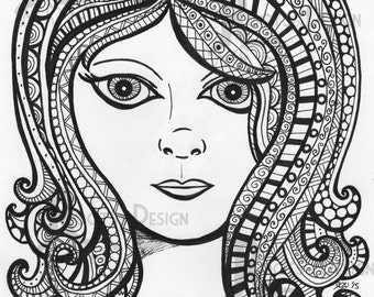 Zentangle Girl Etsy