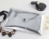 Personalized Envelope Middle Clutch with Initial Letters, Leather, Silver, Hand Stitched by HarLex