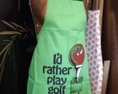 Golf Apron, Mens, Womens, Unisex Vintage I would rather Play Golf than Cook Party Grilling Apron