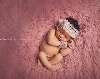 Newborn girl baby headband and cuff set, vintage inspired baby headband,  Butterfly and Crochet Lace Paired with Dusty Rose Cuffs