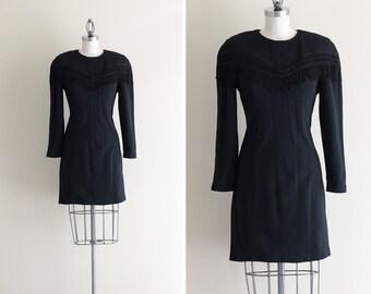 SALE - Black Bodycon Dress . 80s Fringe Dress . LBD Little Black Dress