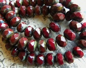 Rondelles, Chestnut Red Mix with Picasso Finish, Czech Glass Faceted, Brownish Red, 6mm x 8mm, 25 Pcs.