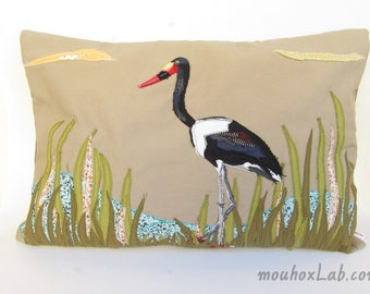 Customized patchwork pillow Nature bird image appliqued - MADE TO ORDER