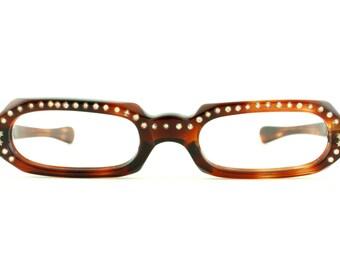 Vintage Rare 50's Tortoiseshell Readers with Rhinestones Eskimo Eyeglasses Frames - FREE Domestic Shipping