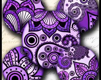 INSTANT DOWNLOAD Purple Paisley Floral (727) 4x6 Bottle Cap Images Printable Digital Collage Sheet .  bottlecaps hair bows glass tile images