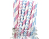 Gender Reveal Baby Shower, Paper Straws, Pink Paper Straws, Blue Paper Straws, Party Supplies, Decorations, Pink Baby Shower, Boy , wins USA