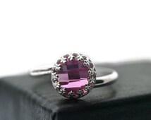 8mm Pink Sapphire Ring, Pink Gemstone Ring, Silver Cocktail Ring, Pink Jewel Ring