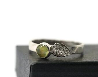 5mm Prehnite Ring, Silver Leaf Ring, Artisan Gemstone Ring, Green Jewel Ring