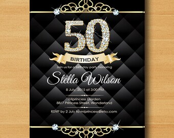 Glam birthday invitation, BLACK glam black elegant invite 30th 40th 50th 60th 70th 80th 90th adult birthday design - card 24