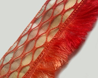 Fringe Cuff Ombre Bracelet in Bright Red, Orange and Yellow Harlequin Diamond Pattern
