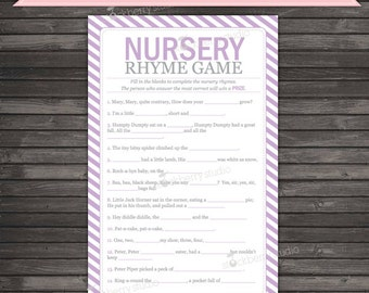 Lavender Baby Shower Nursery Rhyme Game - Lavender Baby Shower Games - Nursery Rhyme Quiz - Instant Download - Baby Shower Games Printable