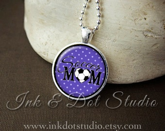 Purple Soccer Mom Necklace, Soccer Mom Pendant, Gift For Soccer Mom, Purple Polka Dot or Choose Color