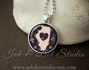 Floral Illinois State Necklace, Illinois Love Pendant, Illinois State Pendant, Illinois Gift, Illinois Necklace, IL State