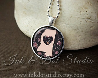 Floral Mississippi State Necklace, Mississippi Love Pendant, Mississippi State Pendant, Mississippi Gift, Pink Mississippi State, MS State