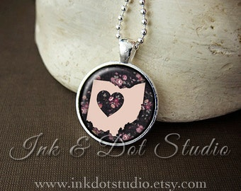 Floral Ohio State Necklace, Ohio Love Pendant, Pink Ohio State Pendant, Ohio Gift, OH State